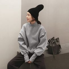 NANING9 - Turtle-Neck Oversized Sweatshirt