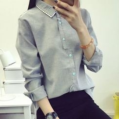 Heybabe - Layered Collar Long Shirt
