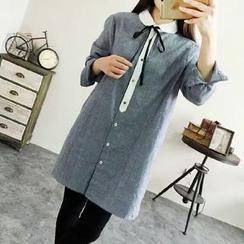 兰芝 - 领结带条纹衬衫裙