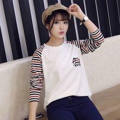 HotBlock - Striped Sleeve Crewneck T-Shirt