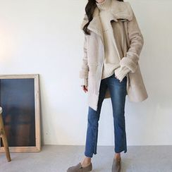 Hello sweety - High-Neck Faux-Shearling Jacket