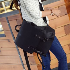 Seok - Double Buckle Faux Leather Backpack