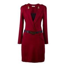 Flore - Long-Sleeve Buckled Formal Dress