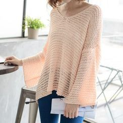 Tokyo Fashion - Bell-Sleeve Open-Knit Top