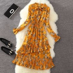 Clementine - Pleated Trim Floral Print Long Sleeve Chiffon Dress