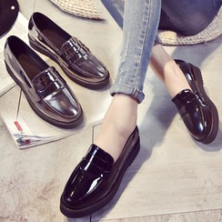 Shamrock Shoes - Faux Patent Leather Platform Loafers / Lace Up Oxfords