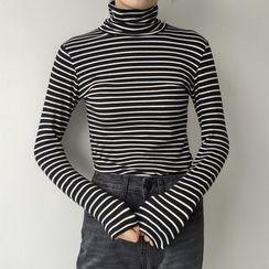 Dasim - Turtleneck Stripe Long-Sleeve Top