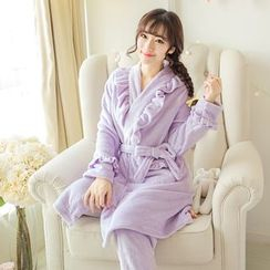 Dreamland - Pajama Set: Ruffle Fleece Top + Pants