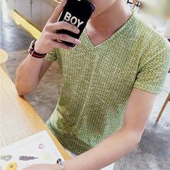 風森 - 混色V領短袖T恤