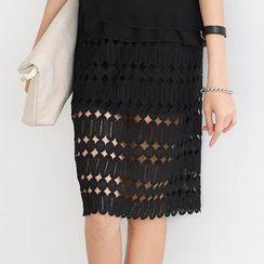 SO Central - Crochet Overlay Midi Skirt