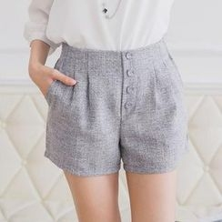 Tokyo Fashion - Buttoned Pleated Shorts