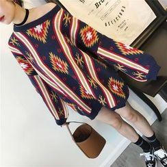 THE XIBI - Geometric Pattern Chunky Sweater