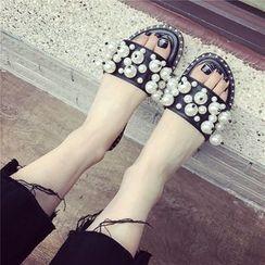 QQ Trend - Faux-Pearl Flat Slide Sandals