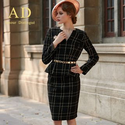 艾尚臣 - 套裝: 荷葉邊格紋上衣 + 鉛筆裙