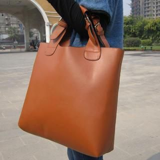19th Street - Faux-Leather Satchel With Cross Strap