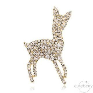 Cuteberry - Rhinestone Deer Brooch