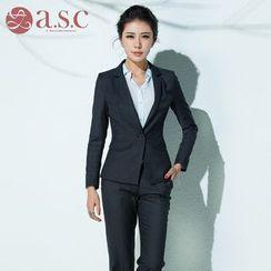 Aision - Set: Striped Blazer + Dress Pants