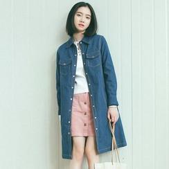 TREEZIN - Long-Sleeve Denim Coat