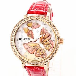 Miss Girl - Butterfly-Accent Croc-Grain Strap Watch