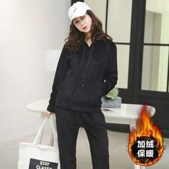 Amizi - Set : Plain Fleece-lined Hoodie + Pants