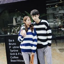 Simpair - Couple Matching Striped Chunky Sweater