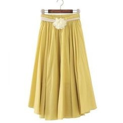 JVL - Pleated Flower-Accent Long Skirt