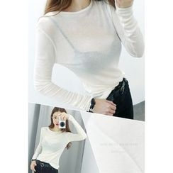 ATTYSTORY - Round-Neck Wool Blend Top