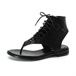 MODELSIS - Genuine Sheepskin Lace-Up Sandals