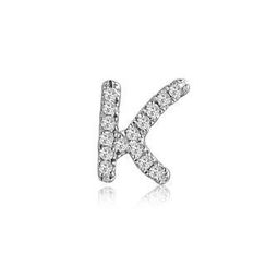 MBLife.com - Left Right Accessory - 9K White Gold Initial 'K' Pave Diamond Single Stud Earring (0.04cttw)