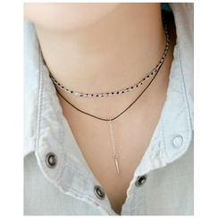 Miss21 Korea - Bar-Pendant Layered Choker