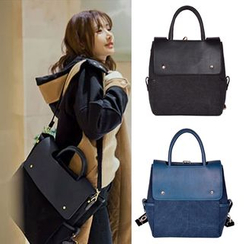 Clair Fashion - Convertible Faux Leather Backpack