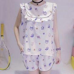 Cloud Nine - 家居服套裝: 印花荷葉邊無袖上衣 + 短褲