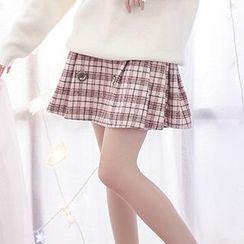 Moriville - Plaid A-Line Mini Skirt