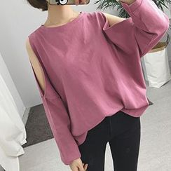 Cloud Nine - Long-Sleeve Shoulder Cut Out T-Shirt