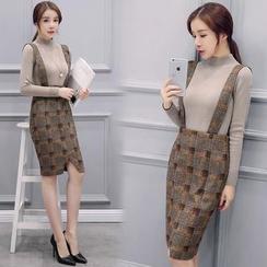 EFO - Set: Long-Sleeve Mock-Neck Knit Top + Check Jumper Skirt