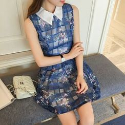 SUYISODA - Sleeveless Plaid Floral Dress