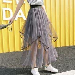 Antheia - Asymmetric Maxi Mesh A-Line Skirt