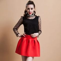 Ozipan - Long-Sleeve Embellished-Neckline Paneled Top