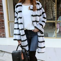 DABAGIRL - Hook-and-Eye Stripe Faux-Fur Coat
