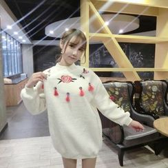 Jolly Club - Long-Sleeve Embroidered Tasseled Pullover Dress