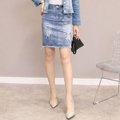 Romantica - Pencil Denim Skirt
