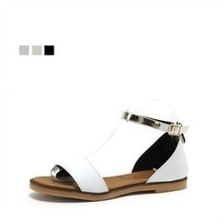 MODELSIS - Faux-Leather Ankle-Strap Sandals