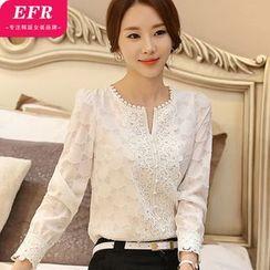 Eferu - 蕾丝边雪纺衬衫