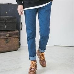 STYLEMAN - Drawstring-Waist Washed Jeans