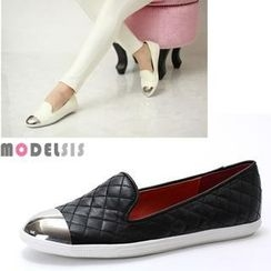 MODELSIS - Metal Toe-Cap Quilted Loafers