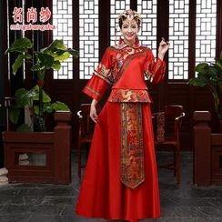 MSSBridal - 4 Pieces Wedding Qipao Set: Top + Skirt