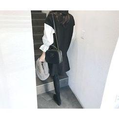 MARSHMALLOW - Maternity Contrast-Sleeve Ruffled-Hem Dress