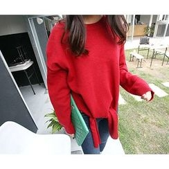 MARSHMALLOW - Slit-Front Knit Top