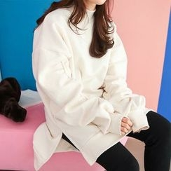 PPGIRL - Shirred-Sleeve Slit-Side Pullover