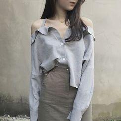氣質淑女 - 露肩襯衫